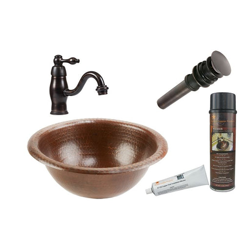Small Round Self Rimming Hammered Copper Sink with ORB Faucet, Matching Drain
