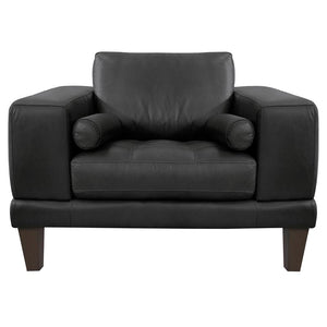 Wynne Contemporary Chair in Genuine Black Leather with Brown Wood Legs