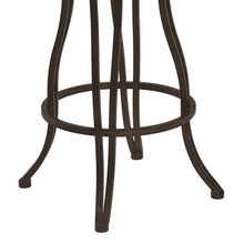 "Load image into Gallery viewer, Celeste 30"" Bar Height Metal Swivel Barstool in Bandero Espresso Fabric and Auburn Bay Finish"