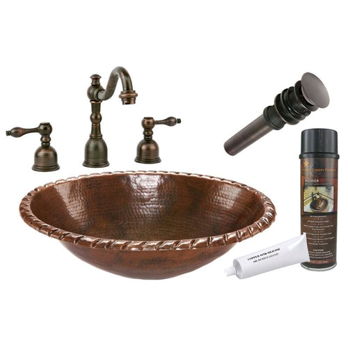 Roped Rim Self Rimming Hammered Copper Sink with ORB Widespread Faucet w Drain