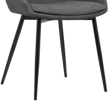 Load image into Gallery viewer, Mia Contemporary Dining Chair in Gray Fabric with Black Powder Coated Metal Legs