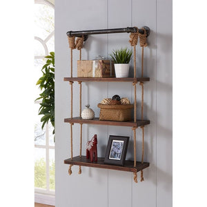 "24"" Brannon Modern Pine Wood Floating Wall Shelf in Gray and Walnut Finish"