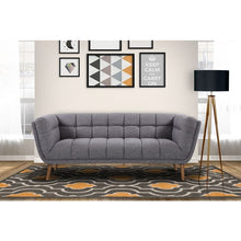 Load image into Gallery viewer, Phantom Mid-Century Modern Sofa in Dark Gray Linen and Walnut Legs