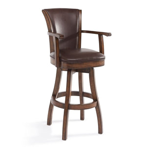 "Raleigh Arm 30"" Bar Height Swivel Wood Barstool in Chestnut Finish and Kahlua Faux Leather"