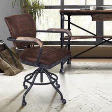 Load image into Gallery viewer, Brice Modern Office Chair in Industrial Grey Finish and Brown Fabric with Pine Wood Arms