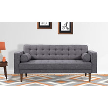 Load image into Gallery viewer, Element Mid-Century Modern Loveseat in Dark Gray Linen and Walnut Legs