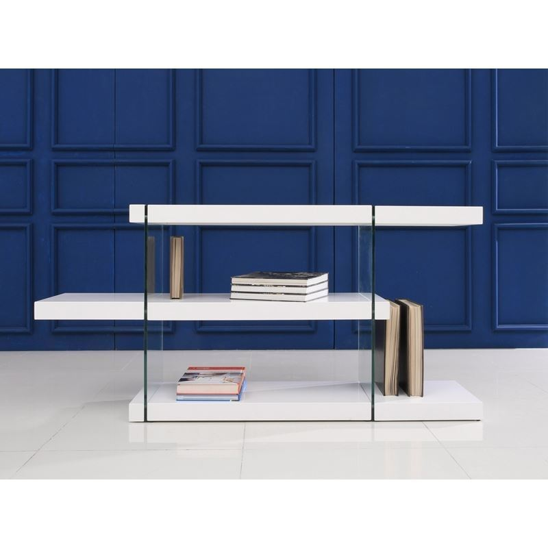 IL VETRO High Gloss White Lacquer Bookcase