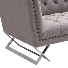 Load image into Gallery viewer, Odyssey Sofa in Brushed Stainless Steel finish with Grey Tweed and Black Nail heads