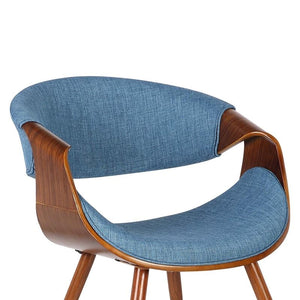 Butterfly Mid-Century Dining Chair in Walnut Finish and Blue Fabric