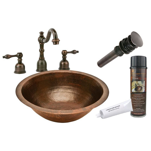 Round Under Counter Hammered Copper Sink with ORB Widespread Faucet w Drain