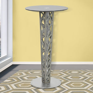 Crystal Pub Table with Gray Walnut Veneer column and Brushed Stainless Steel finish with Gray Tempered Glass Top