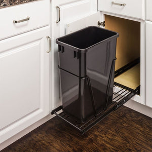 Black 35 or 50 Quart Single Pullout Waste Container System