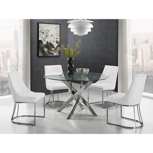 CREEK White Eco-Leather / Stainless Legs Dining Chair by Casabianca Home