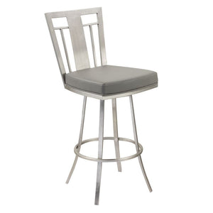 "Cleo 30"" Modern Swivel Barstool In Gray and Stainless Steel"