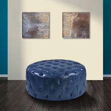 Load image into Gallery viewer, Victoria Ottoman In Ocean Blue Bonded Leather