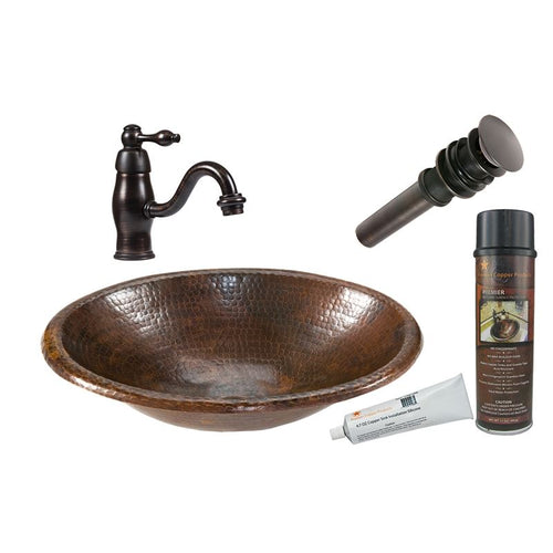Small Oval Self Rimming Hammered Copper Sink with ORB Faucet, Matching Drain