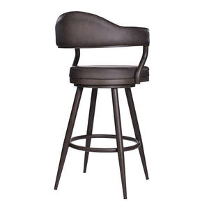"Justin 30"" Bar Height Barstool in Brown Powder Coated Finish and Vintage Brown Faux Leather"