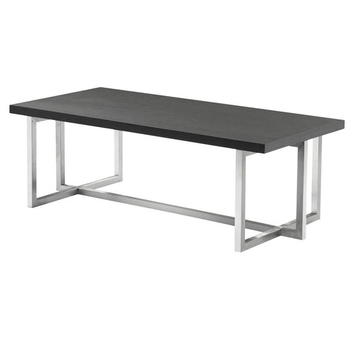 Topaz Contemporary Rectangular Coffee Table in Brushed Stainless Steel with Grey Wood Top