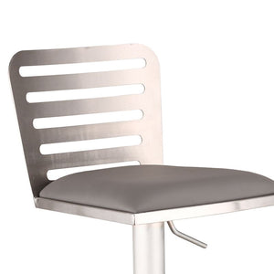 Delmar Adjustable Brushed Stainless Steel Barstool in Gray Faux Leather