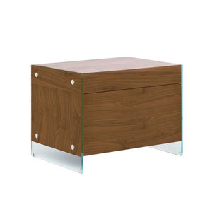 IL VETRO Walnut Veneer Nightstand / End Table by Casabianca Home