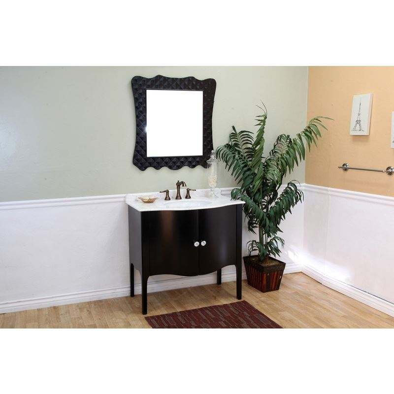 Bellaterra 36.6 In Single Sink Vanity Wood Black  White Marble