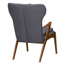 Load image into Gallery viewer, Ryder Mid-Century Accent Chair in Champagne Ash Wood Finish and Dark Grey Fabric