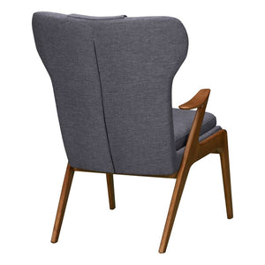 Ryder Mid-Century Accent Chair in Champagne Ash Wood Finish and Dark Grey Fabric