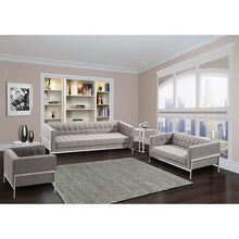 Load image into Gallery viewer, Andre Contemporary Sofa In Gray Tweed and Stainless Steel
