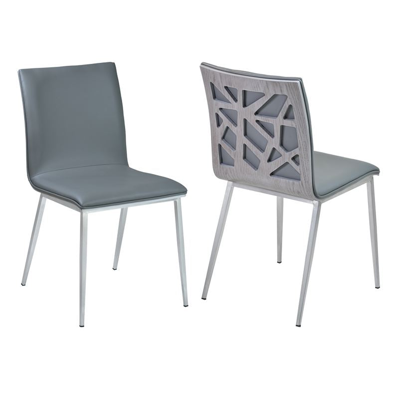 Crystal Dining Chair in Gray Pu with Brushed Stainless Steel Finish and Gray Walnut Veneer Back (Set of 2)