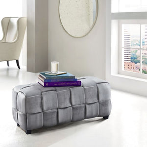 Raven Contemporary Long Ottoman in Gray Velvet