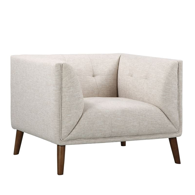Hudson Mid-Century Button-Tufted Chair in Beige Linen and Walnut Legs