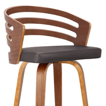 "Load image into Gallery viewer, Jayden 30"" Mid-Century Swivel Bar Height Barstool in Brown Faux Leather with Walnut Veneer"