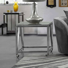 Load image into Gallery viewer, Enessa Contemporary Square End Table with Wheels in Brushed Stainless Steel Finish with Tempered Glass Top