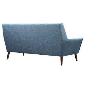 Cobra Mid-Century Modern Sofa in Blue Linen and Walnut Legs