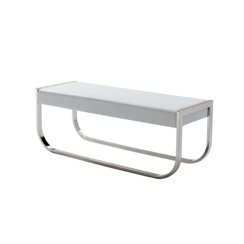 BELLAGIO White Eco-Leather Bench by Casabianca Home