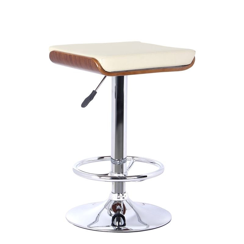 Java Barstool in Chrome finish with Walnut wood and Cream Faux Leather