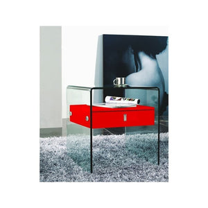 BARI High Gloss Red Lacquer Nightstand / End Table by Casabianca Home
