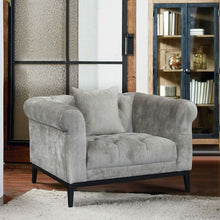 Load image into Gallery viewer, Glamour Contemporary Chair with Black Iron Finish Base and Beige Fabric