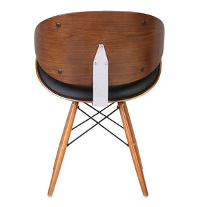 Cassie Mid-Century Dining Chair in Walnut Wood and Black Faux Leather
