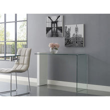 Load image into Gallery viewer, BUONO High Gloss White Lacquer w 1/2 Clear Glass Console Table