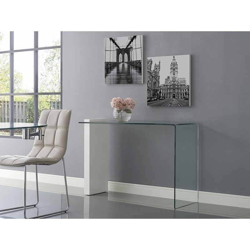 BUONO High Gloss White Lacquer w 1/2 Clear Glass Console Table