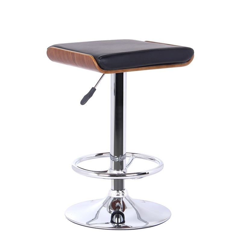 Java Barstool in Chrome finish with Walnut wood and Black Faux Leather