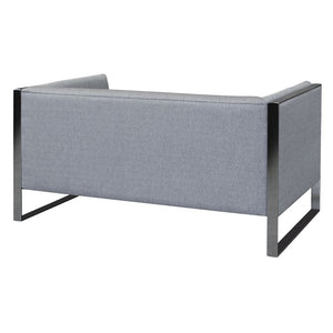 Royce Contemporary Loveseat with Polished Stainless Steel and Grey Fabric