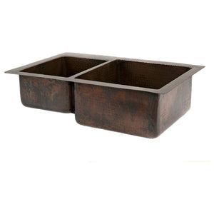 "33"" Hammered Copper Kitchen 40/60 Double Basin Sink"