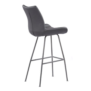 "Coronado Contemporary 30"" Bar Height Barstool in Brushed Grey Powder Coated Finish and Grey Faux Leather"