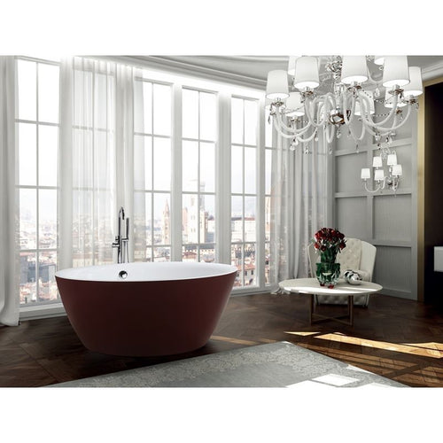 Prato 59 inch Freestanding Bathtub in Glossy Red