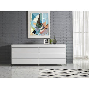 IL VETRO High Gloss White Lacquer Dresser by Casabianca Home
