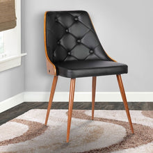 Load image into Gallery viewer, Lily Mid-Century Dining Chair in Walnut Finish and Black Faux Leather