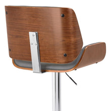 Load image into Gallery viewer, London Contemporary Swivel Barstool in Grey Faux Leather with Chrome and Walnut Wood