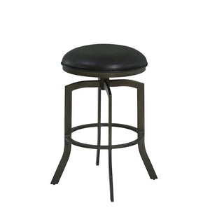 "Studio 26"" Counter Height Metal Swivel Barstool in Ford Black Pu and Mineral Finish"